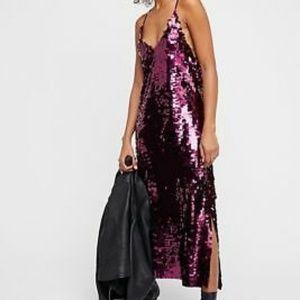 NWOT Free People burgundy berry sequin midi dress